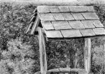 garden well graphite drawing Kathrin Guenther web file