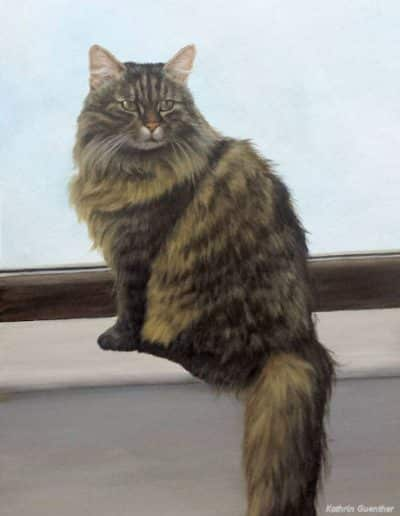 Amy, acrylic painting of a cat by Kathrin Guenther, pet portrait