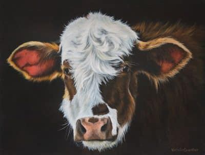 calf painting, cow painting, farm animal painting, bovine art, acrylic painting, Kathrin Guenther